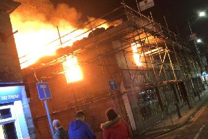 The flames take hold at the Storm Art Gallery in Padiham last night.
