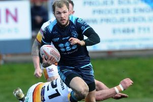 Luke Briscoe, who scored his 50th try for Featherstone Rovers.