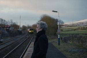 Peter Capaldi at Dove Holes railway station.