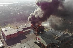 Fire crews spent two hours tackling the blaze at the former Ivy Bank High School