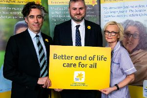 Actor Stephen Mangan, Pendle MP Andrew Stephenson and Marie Curie healthcare assistant Patricia McDonnell
