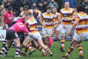 Hooker Ben Gregory, here leading the way in defence, scored two tries for Fylde at South Leicester