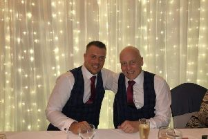 Matt on his wedding day with his dad, Paul