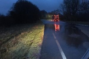 The A59 was closed this morning due to heavy rain.