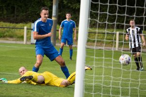 Gareth Hill scored for Nelson in their 8-1 win over Daisy Hill