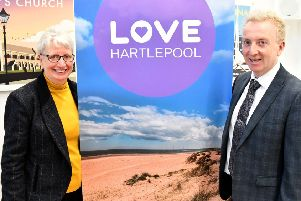 Gill Alexander, the Chief Executive of Hartlepool Borough Council along with Council Leader Christopher Akers-Belcher at  the launch of the Love Hartlepool campaign. Picture by FRANK REID