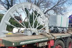 The former pit wheel from Frickley Colliery has been sandblasted ahead of it going on display as a monument to the district's mining heritage.