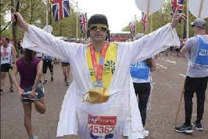 Andrew in his fat Elvis costume at the end of last year's London Marathon