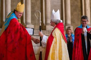 Bishop Sarah is welcomed by Bishop Paul to the Diocese and to the Cathedral Community. Picture By Keith Blundy.