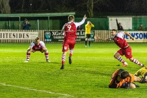 Ollie Wood celebrates scoring the winner against Skelmersdale United midweek