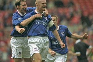 Sean Dyche celebrates scoring from the spot in the 1997 FA Cup semifinal