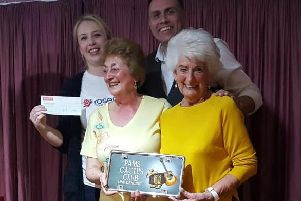 Strutting their stuff for charity are Cactus Line Dancing Club founder and teacher Pam Hart (front left) with Rosemere Cancer Foundations East Lancs fund-raising co-ordinator Louise Grant (back left), club member June Kay and line dance artist Derek Darby
