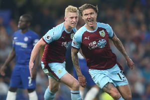 Burnley's Jeff Hendrick celebrates scoring his side's first goal ''Photographer Rob Newell/CameraSport''The Premier League - Chelsea v Burnley - Monday 22nd April 2019 - Stamford Bridge - London''World Copyright � 2019 CameraSport. All rights reserved. 43 Linden Ave. Countesthorpe. Leicester. England. LE8 5PG - Tel: +44 (0) 116 277 4147 - admin@camerasport.com - www.camerasport.com