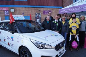 Helen McVey, Pendlesides chief executive (centre) at the launch of the hospices 2019 car raffle at Turf Moor.
