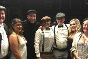 Guests get into the spirit of the Peaky Blinders themed night at Burnley Mechanics Theatre organised for Prostate Cancer UK.