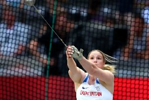 BERLIN, GERMANY - AUGUST 12:  Sophie Hitchon of Great Britain competes in the Women's Hammer Throw Final during day six of the 24th European Athletics Championships at Olympiastadion on August 12, 2018 in Berlin, Germany. This event forms part of the first multi-sport European Championships.  (Photo by Michael Steele/Getty Images)