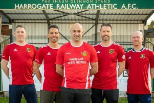 New Harrogate Railway boss Des Macorison, front, with, from left, reserve team manager Ray Green, assistant-manager Lee Ryan, head coach Danny Scott and football development officer Wil Golby. Picture: Caught Light Photogrpahy