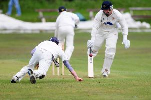 LOWERHOUSE V ENFIELD: Good running from Lowerhouse batsmen Ben Heap and Johnny Whitehead.'Photo Ben Parsons