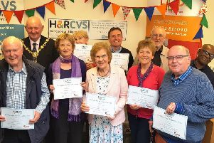 Saying thank you to HARCVS and HELP volunteers with Mayor of Harrogate District, Councillor Stuart Martin.