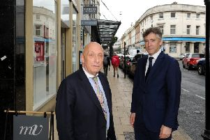 Supporting more free parking in Harrogate - William Woods and Robert Ogden on James Street. (Picture by Gerard Binks)