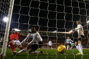 NOTTINGHAM, ENGLAND - FEBRUARY 25: Yohan Benalouane of Nottingham Forest scores a goal during the Sky Bet Championship match between Nottingham Forest and Derby County at City Ground on February 25, 2019 in Nottingham, England. (Photo by Matthew Lewis/Getty Images)