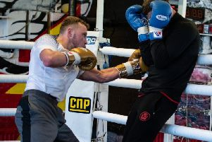 Josh Holmes in training at the Phoenix Camp in Denton, Manchester
