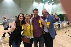 Members of the Liberal Democrat team celebrating the Bridlington North result at Bridlington Leisure Centre last night.