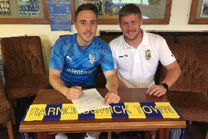Barnoldswick Town boss Matt Barnes with Ash Brierley