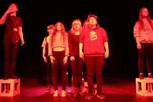 The cast of Chasing Aces, an original play about childhood trauma devised by Byteback Theatre for the Edinburgh Fringe Festival.