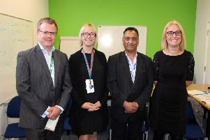 ELHT Dragons (left-to-right) Director of Finance Jonathan Wood, Associate Director of Service Development Kate Atkinson, Library Services Manager Abbas Bismallah and Orthoptist Serena Hudson