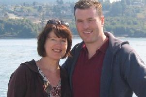 Kristian with his mother, Andrea, before he was detained in Syria