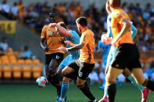 Burnley striker Ashley Barnes opens the scoring against Wolves at Molineux