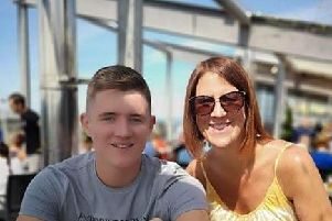 Son Steven, 19, with murdered mum Lindsay Birbeck