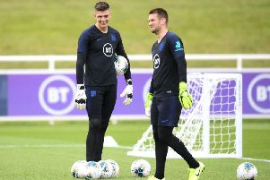 Nick Pope with former Claret Tom Heaton at St George's Park. Photo: Getty