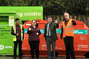 Sainsburys staff by their recycling centre in Colne