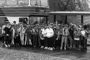 Woldgate School students before a trip in 1986.