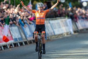 Annemiek van Vleuten wins the women's elite road race in harrogate. Picture by Bruce Rollinson.
