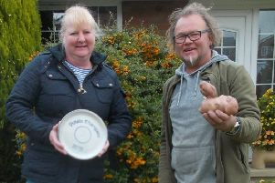 Overall competition winner Helen Taylor with Paul Wellham, who won the funniest potato prize.