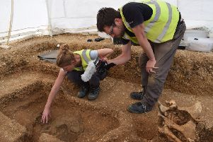 The Pocklington Iron Age shield conservation during excavation.