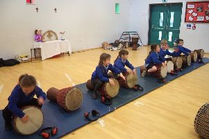 Bishop Wilton School pupils enjoy the drumming workshop at Middleton on The Wolds Primary School.