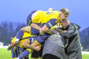Frickley Athletic players celebrate their second goal against Chasetown. Picture: Onion Bag Photos