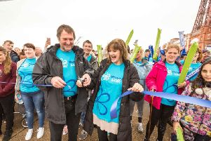 Anne Nolan, whose mother Maureen had dementia, and ex-Blackpool football player Dave Serella, who is living with dementia, cut the ribbon to open the walk (Photo: Chris Bull)