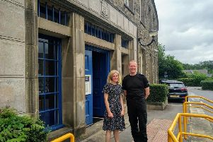 Ruth George with Inspector Phil Booth outside Buxton police station.