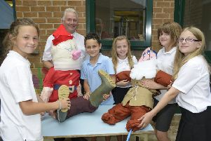 Getting ready for the Wilberfoss Primary School Scarecrow Trail back in 2016.
