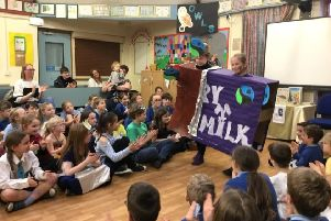 Pupils at Barmby Moor CE Primary School enjoy the Fairtrade fashion show.