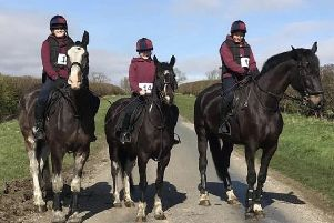 The three riders from Burnby Equestrian Centre before the start of the Kiplingcotes Derby.
