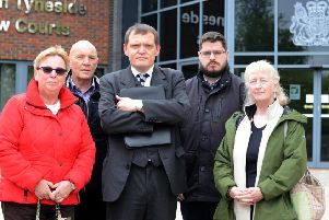 Peter Watt (middle) Council Tax political stance outside South Tyneside Magistrates Court. From left, local election candidates Sue Stonehouse, Paul Milburn, Matthew Giles and Lesley Hanson