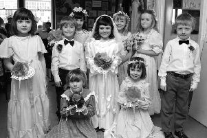 Youngsters learn all about weddings in 1986.