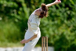 George Gibson bowls for Knottingley Town against Pledwick. Picture: Paul Butterfield