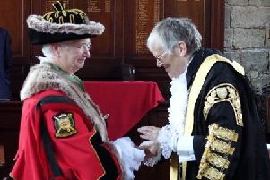 Sara Giles is congratulated by Janet Looker, the Lord Mayor of York, after the Oath Taking ceremony at Bedern Hall.